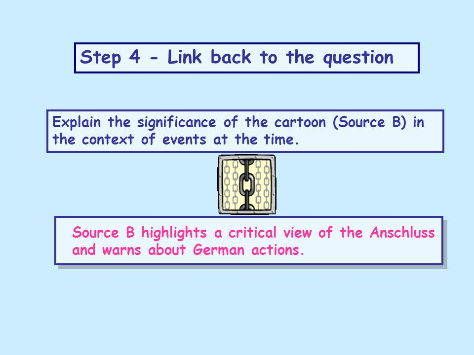 Step 4 - Link back to the question Explain the significance of the cartoon (Source B) in the context of events at the time. Source B highlights a crit