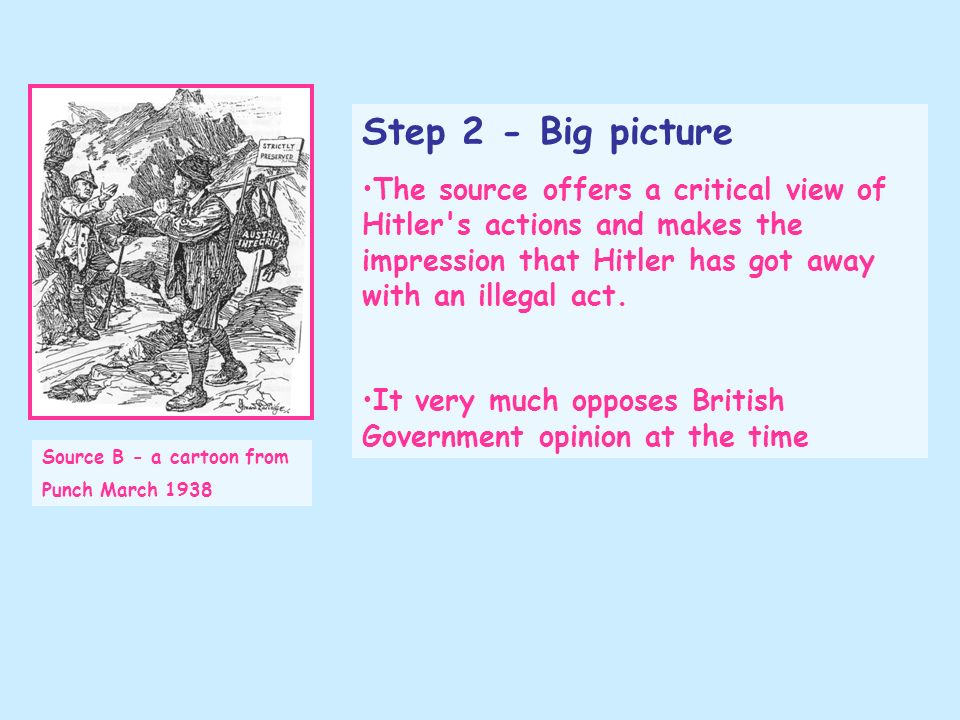 Source B - a cartoon from Punch March 1938 Step 2 - Big picture The source offers a critical view of Hitler's actions and makes the impression that Hi