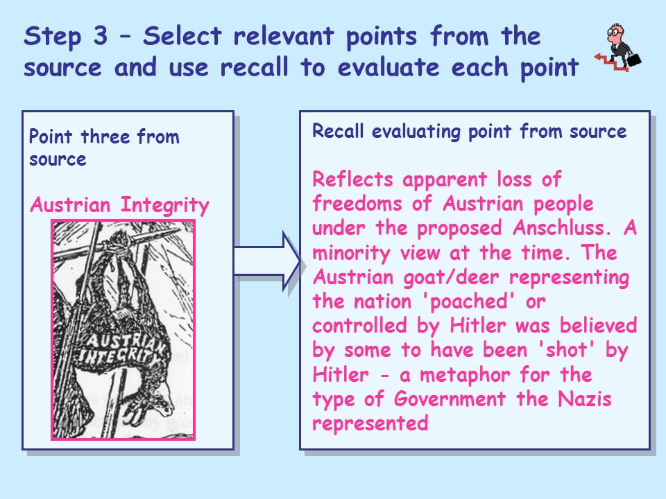 Step 3 – Select relevant points from the source and use recall to evaluate each point Point three from source Austrian Integrity Recall evaluating poi