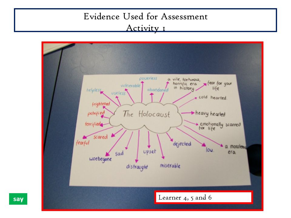 Evidence Used for Assessment Activity 1 Rachael, Rachael and ElliotLearner 4, 5 and 6 say