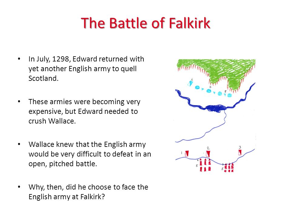 The Battle of Falkirk In July, 1298, Edward returned with yet another English army to quell Scotland.