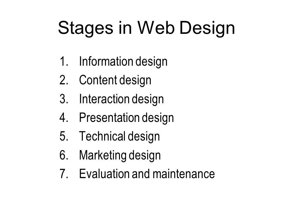 Stages in Web Design 1.Information design 2.Content design 3.Interaction design 4.Presentation design 5.Technical design 6.Marketing design 7.Evaluati