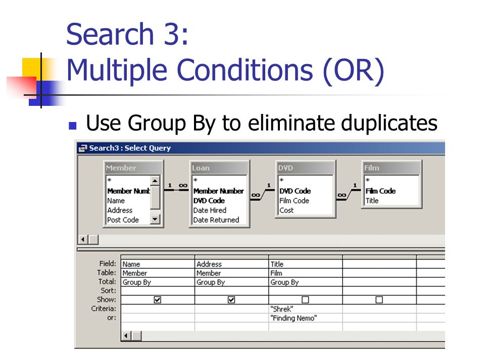 Search 3: Multiple Conditions (OR) Use Group By to eliminate duplicates