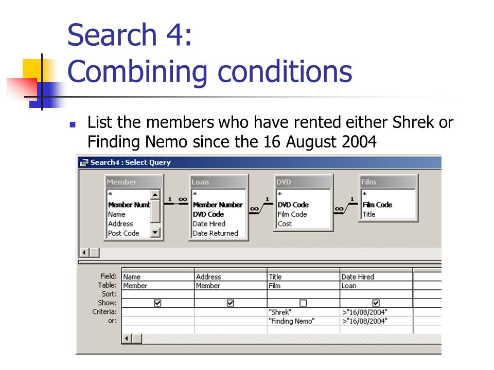 Search 4: Combining conditions List the members who have rented either Shrek or Finding Nemo since the 16 August 2004