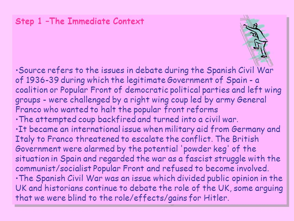 Step 1 –The Immediate Context Source refers to the issues in debate during the Spanish Civil War of 1936-39 during which the legitimate Government of