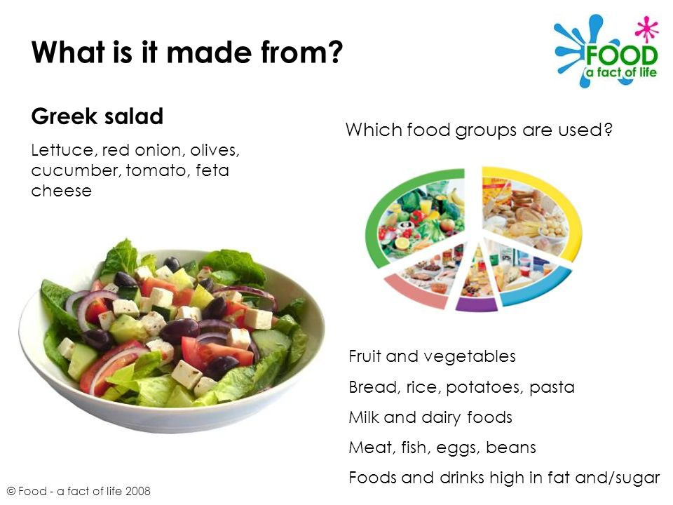 © Food - a fact of life 2008 What is it made from? Greek salad Lettuce, red onion, olives, cucumber, tomato, feta cheese Which food groups are used? F