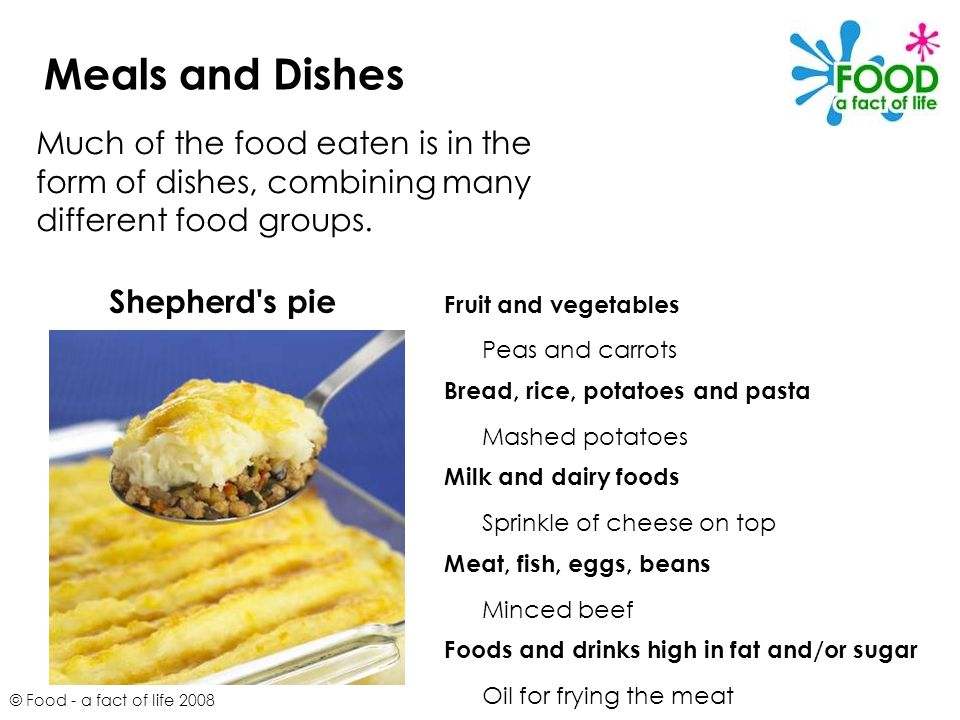 © Food - a fact of life 2008 Meals and Dishes Much of the food eaten is in the form of dishes, combining many different food groups. Shepherd's pie Fr