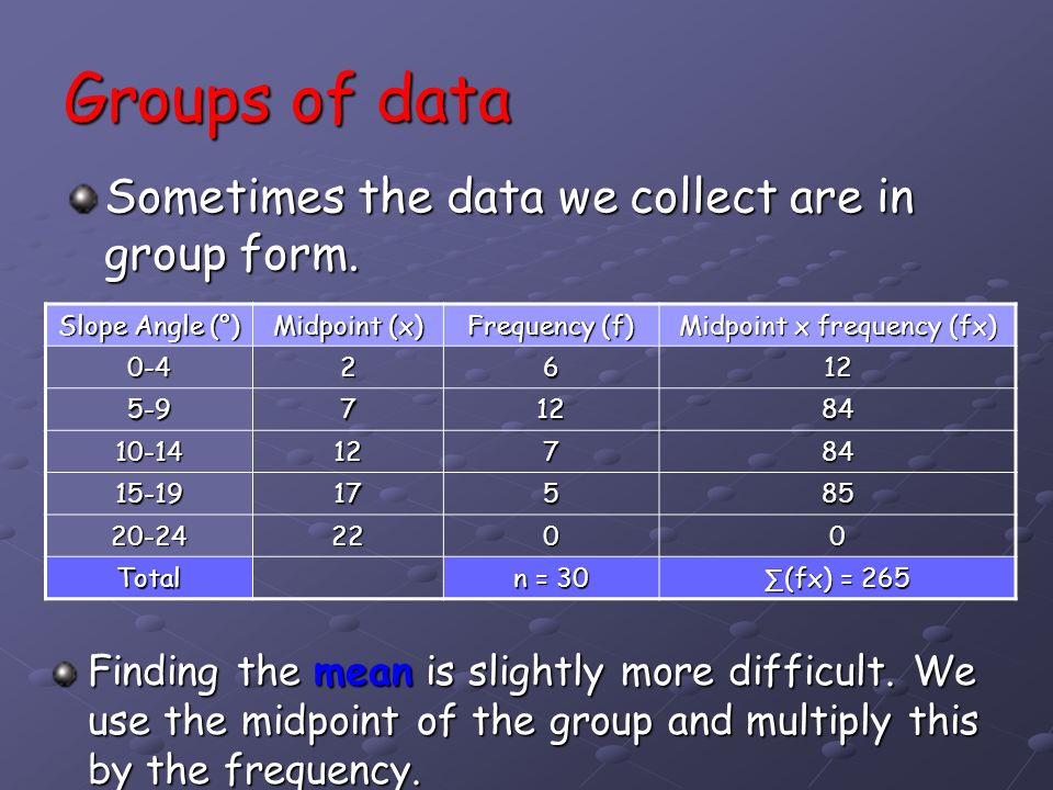 Groups of data Sometimes the data we collect are in group form. Finding the mean is slightly more difficult. We use the midpoint of the group and mult