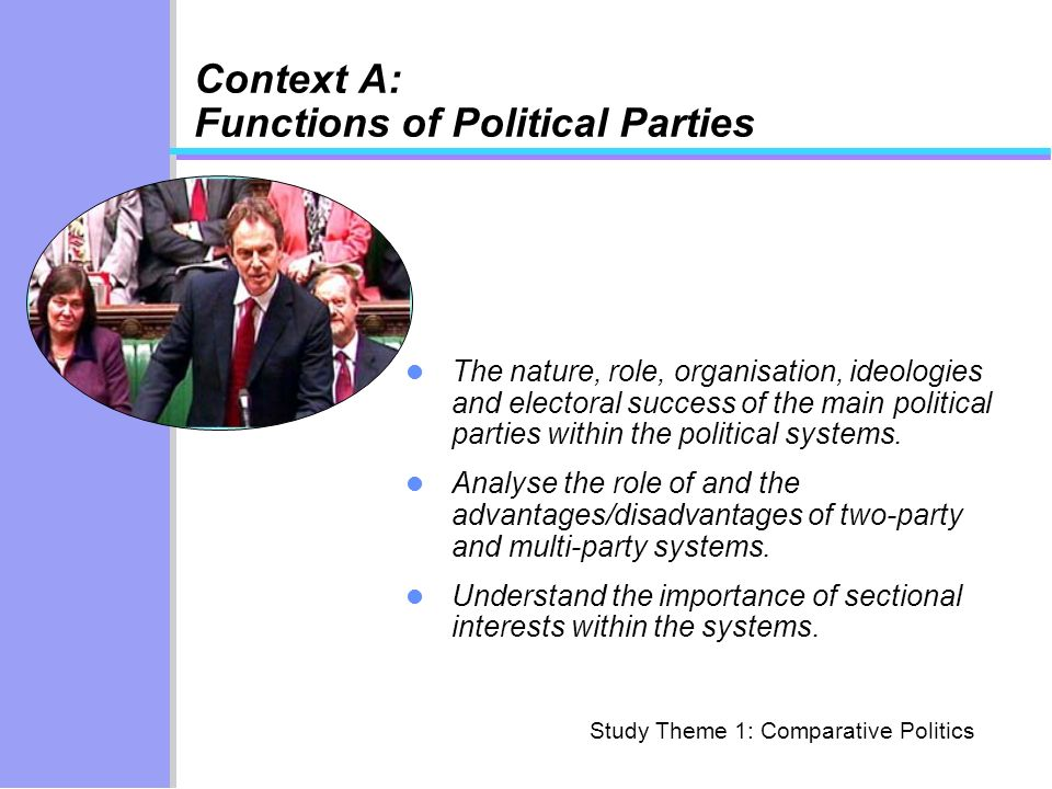 Context A: Functions of Political Parties The nature, role, organisation, ideologies and electoral success of the main political parties within the political systems.