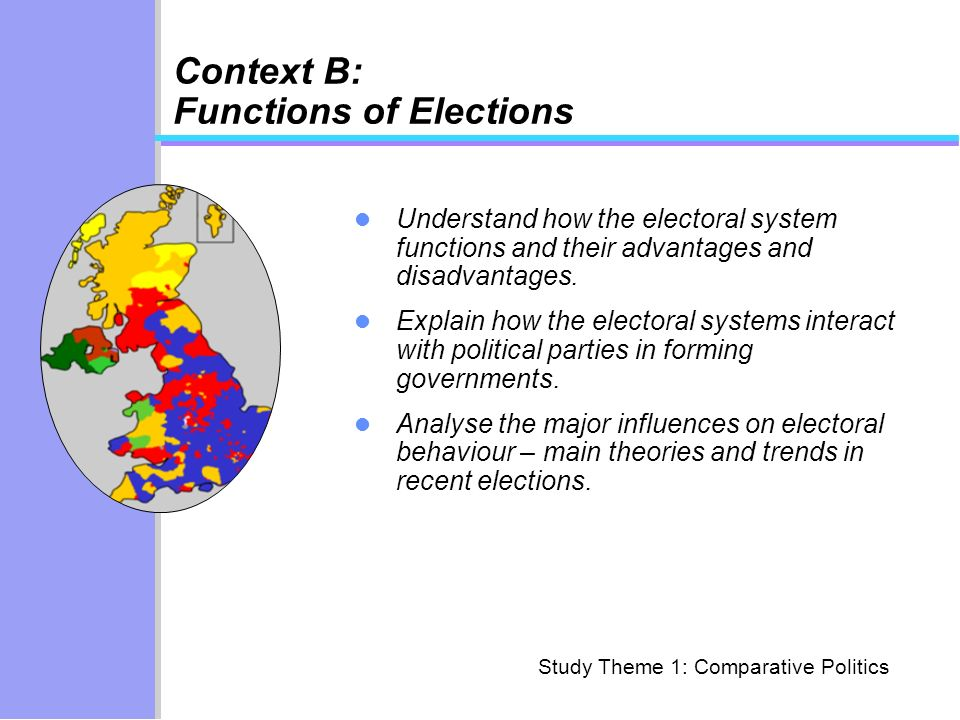 Context B: Functions of Elections Understand how the electoral system functions and their advantages and disadvantages. Explain how the electoral syst