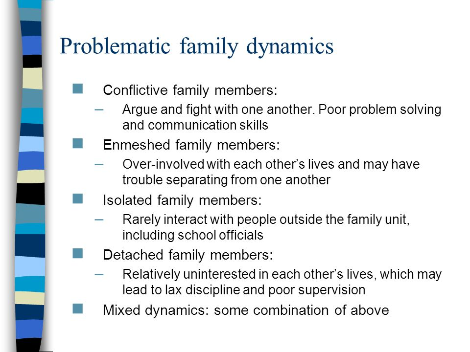 Problematic family dynamics Conflictive family members: – Argue and fight with one another. Poor problem solving and communication skills Enmeshed fam