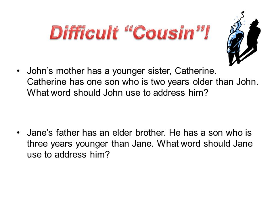 Johns mother has a younger sister, Catherine. Catherine has one son who is two years older than John. What word should John use to address him? Janes