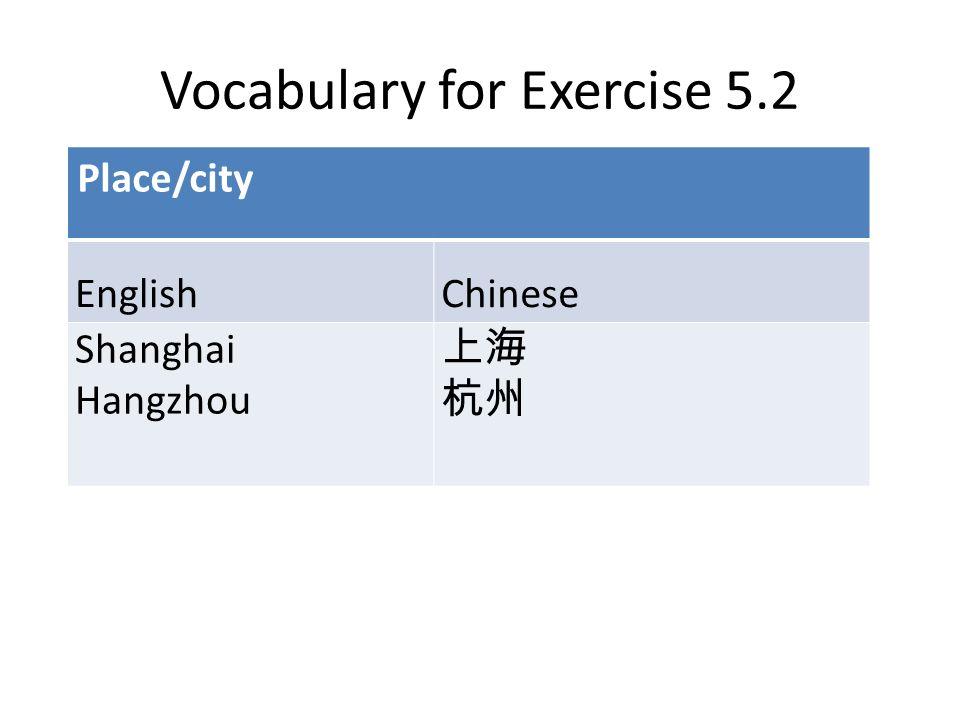 Vocabulary for Exercise 5.2 Place/city EnglishChinese Shanghai Hangzhou