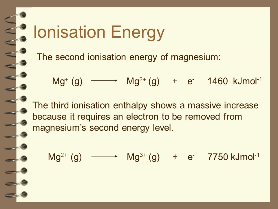 Ionisation Energy The third ionisation enthalpy shows a massive increase because it requires an electron to be removed from magnesiums second energy level.
