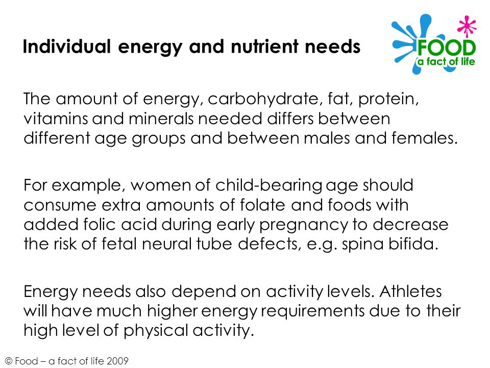 © Food – a fact of life 2009 Individual energy and nutrient needs The amount of energy, carbohydrate, fat, protein, vitamins and minerals needed diffe