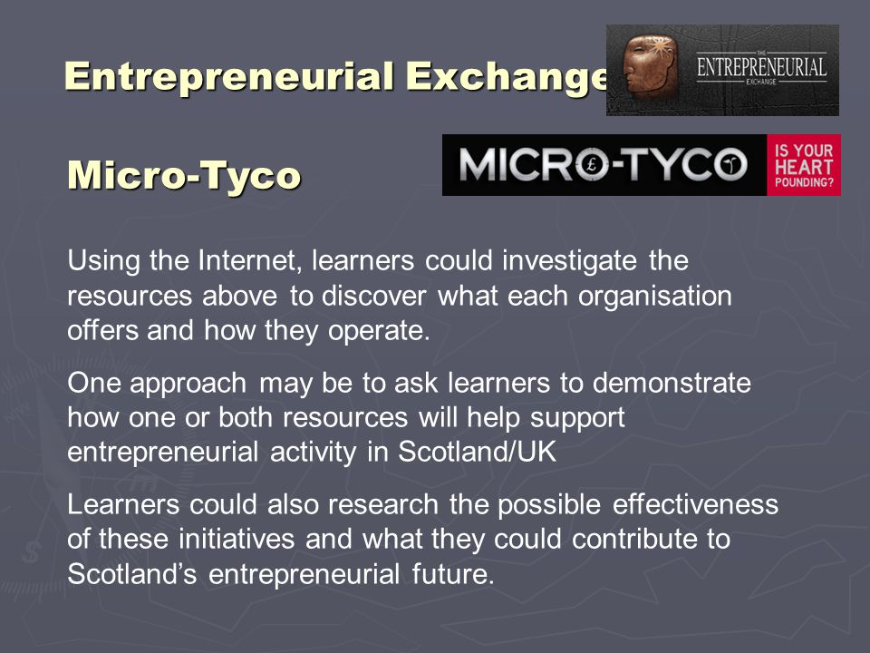 Entrepreneurial Exchange Micro-Tyco Using the Internet, learners could investigate the resources above to discover what each organisation offers and h