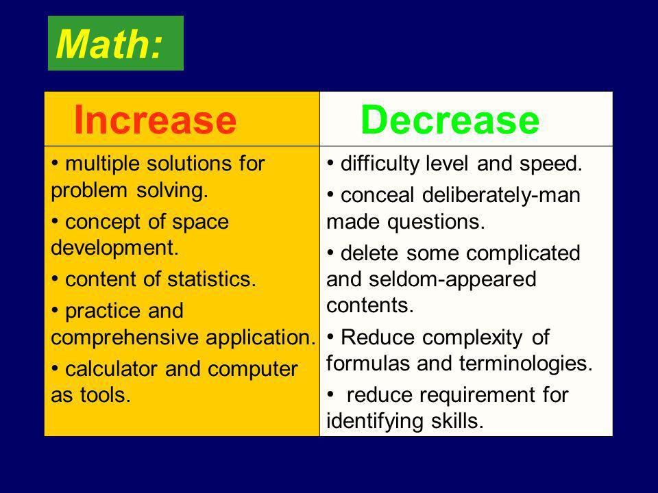 Increase Decrease multiple solutions for problem solving.