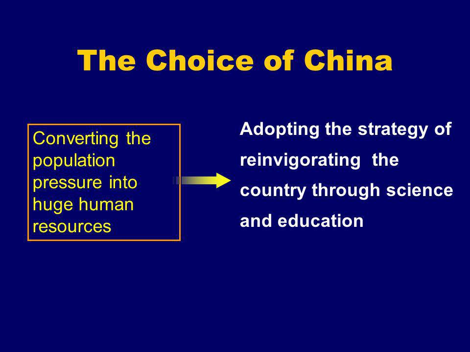 The Choice of China Adopting the strategy of reinvigorating the country through science and education Converting the population pressure into huge hum