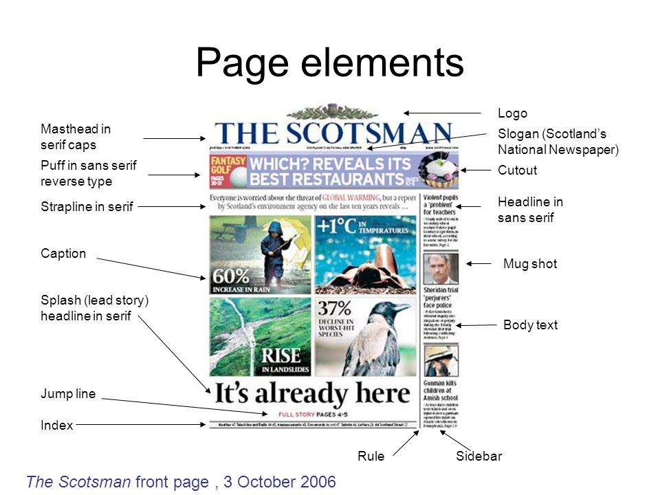 Page elements Masthead in serif caps Splash (lead story) headline in serif Puff in sans serif reverse type Strapline in serif Index Mug shot Jump line Logo Body text Sidebar Headline in sans serif Caption Cutout Rule Slogan (Scotlands National Newspaper) The Scotsman front page, 3 October 2006