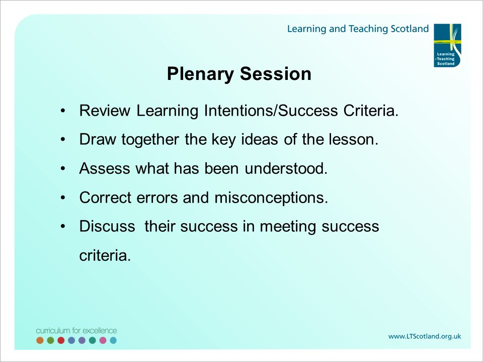 Plenary Session Review Learning Intentions/Success Criteria. Draw together the key ideas of the lesson. Assess what has been understood. Correct error
