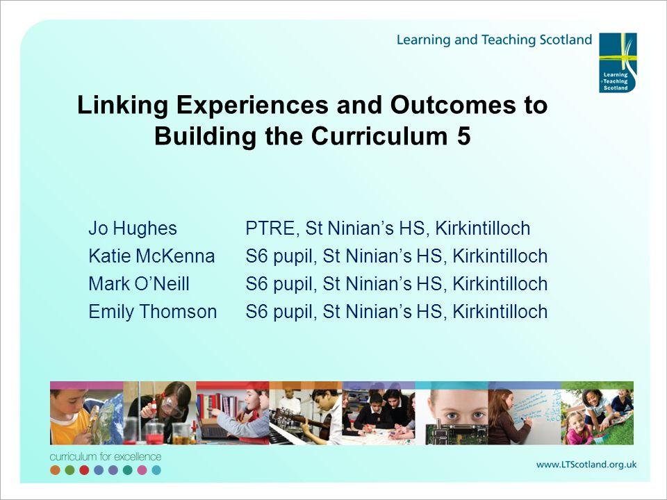 Jo HughesPTRE, St Ninians HS, Kirkintilloch Katie McKennaS6 pupil, St Ninians HS, Kirkintilloch Mark ONeillS6 pupil, St Ninians HS, Kirkintilloch Emil