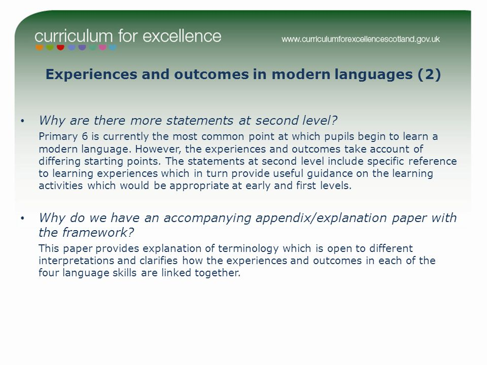 Experiences and outcomes in modern languages (2) Why are there more statements at second level.