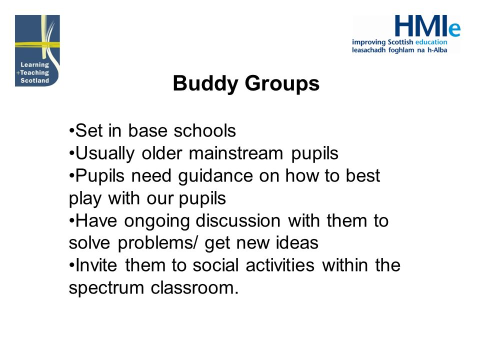 Buddy Groups Set in base schools Usually older mainstream pupils Pupils need guidance on how to best play with our pupils Have ongoing discussion with