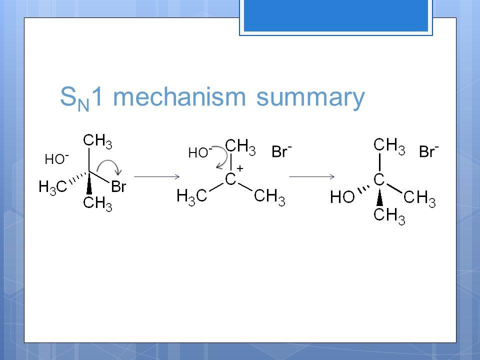 S N 1 mechanism summary HO - Br -