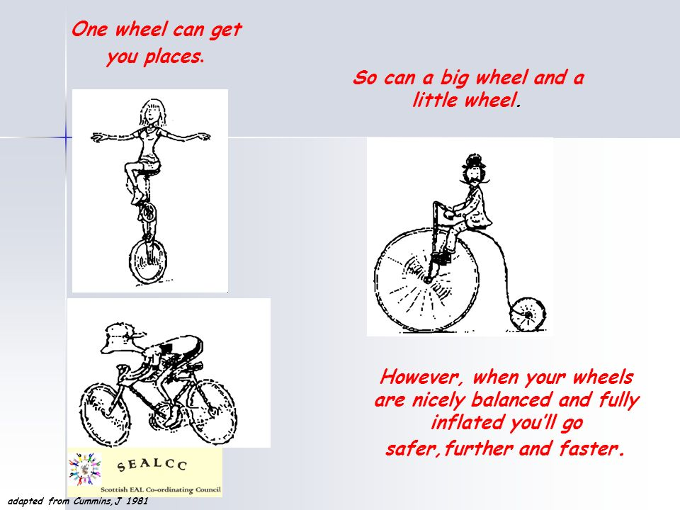 One wheel can get you places. So can a big wheel and a little wheel. However, when your wheels are nicely balanced and fully inflated youll go safer,f
