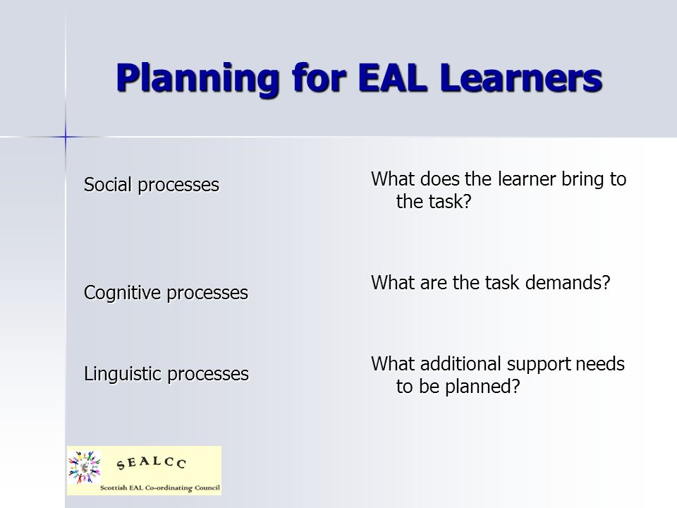 Planning for EAL Learners Social processes Cognitive processes Linguistic processes What does the learner bring to the task? What are the task demands