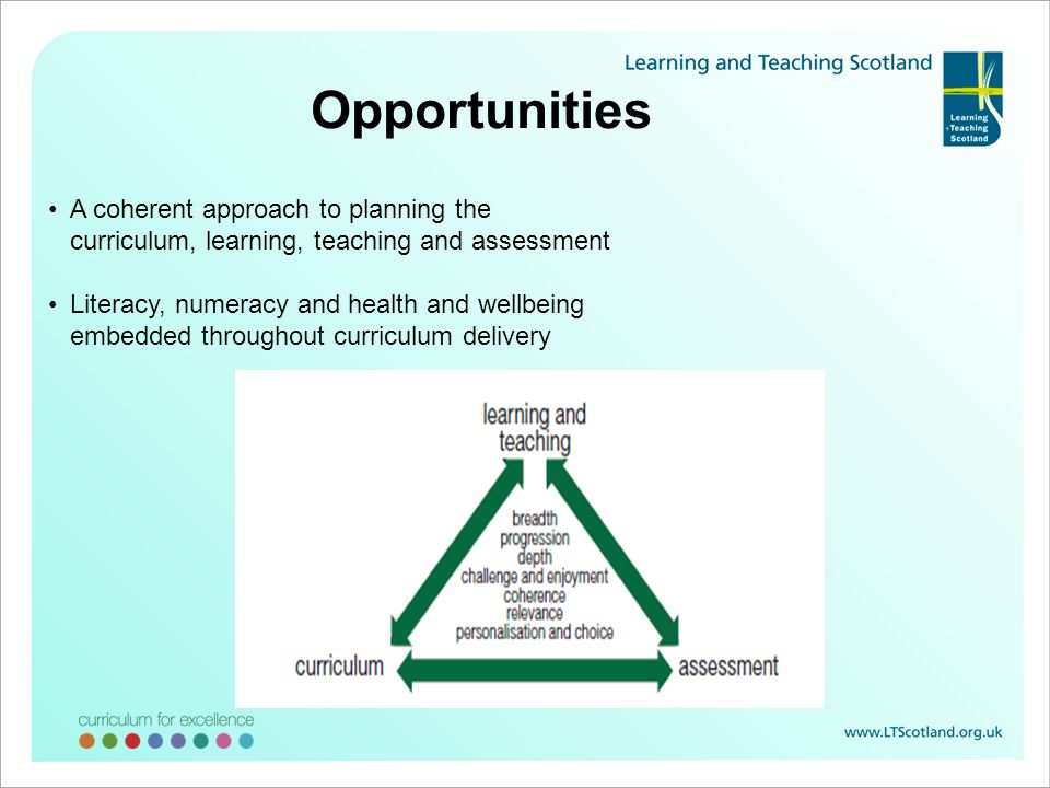Opportunities A coherent approach to planning the curriculum, learning, teaching and assessment Literacy, numeracy and health and wellbeing embedded t