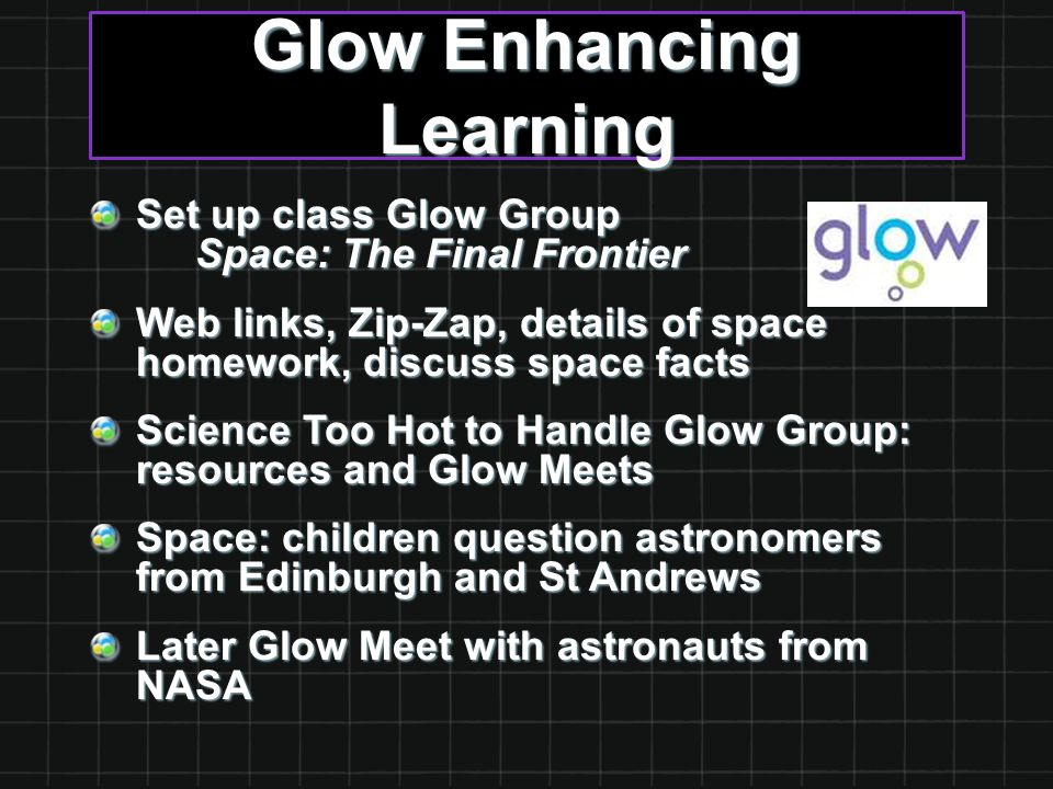 Glow Enhancing Learning Set up class Glow Group Space: The Final Frontier Web links, Zip-Zap, details of space homework, discuss space facts Science T