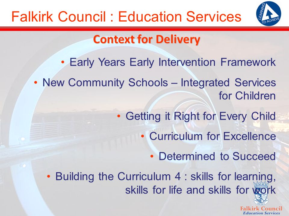 Falkirk Council : Education Services Context for Delivery Early Years Early Intervention Framework New Community Schools – Integrated Services for Children Getting it Right for Every Child Curriculum for Excellence Determined to Succeed Building the Curriculum 4 : skills for learning, skills for life and skills for work