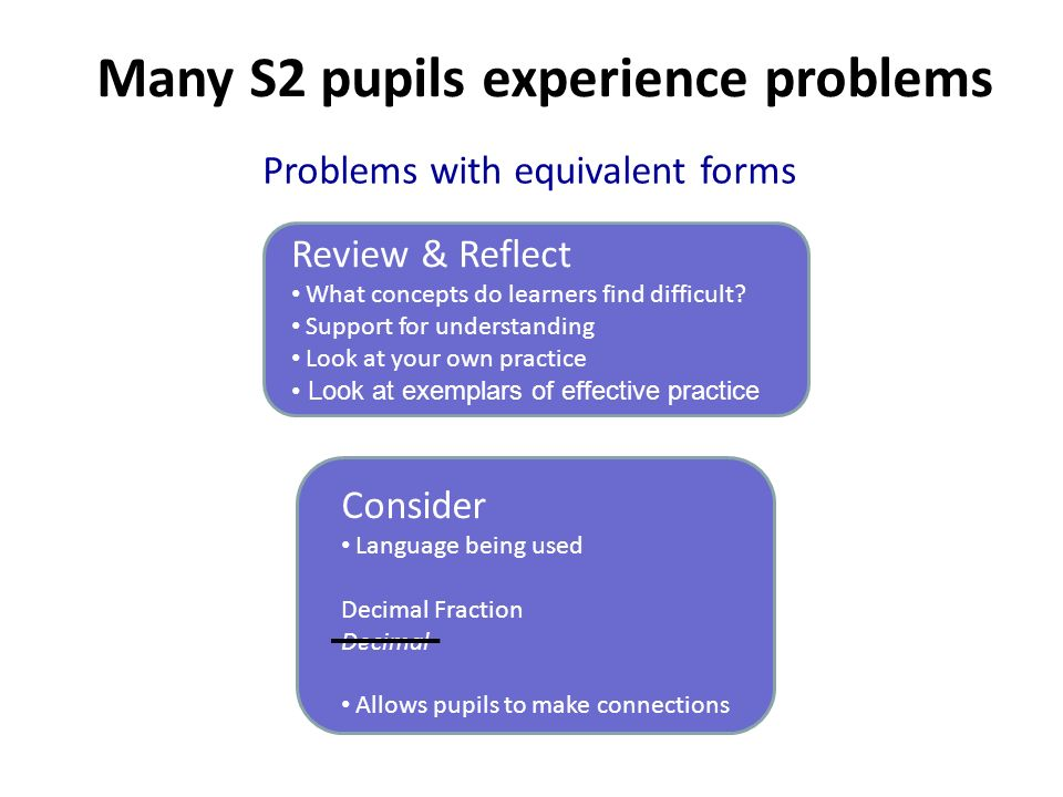 Problems with equivalent forms Review & Reflect What concepts do learners find difficult? Support for understanding Look at your own practice Look at