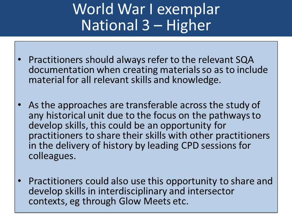 Practitioners should always refer to the relevant SQA documentation when creating materials so as to include material for all relevant skills and know