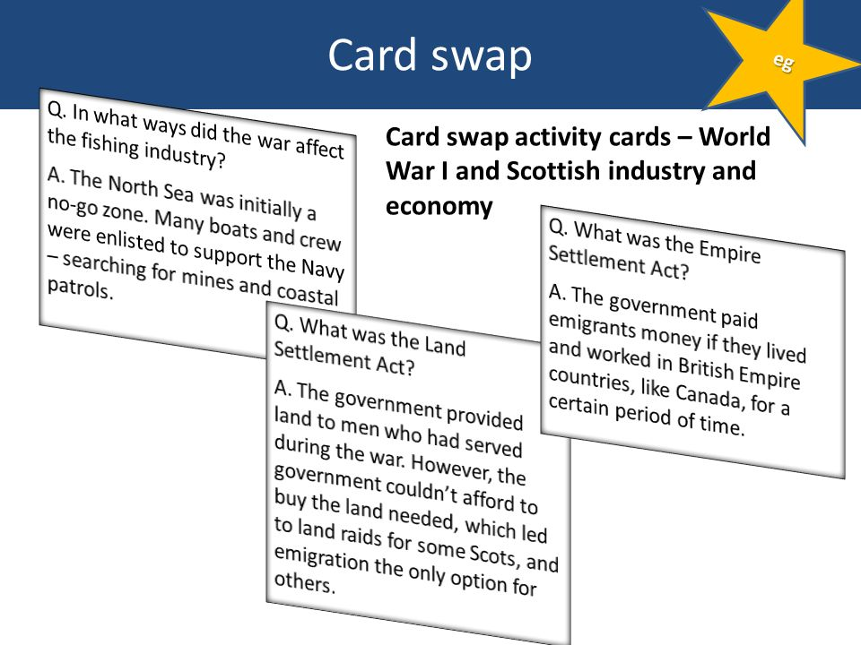 Card swap Card swap activity cards – World War I and Scottish industry and economy eg
