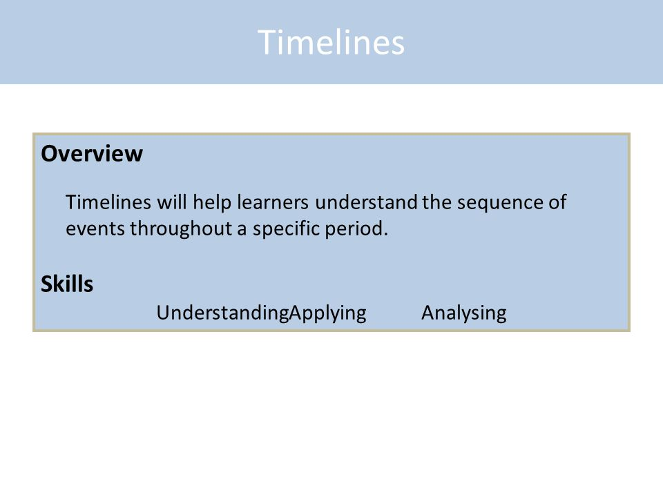 Timelines Overview Timelines will help learners understand the sequence of events throughout a specific period. Skills UnderstandingApplyingAnalysing