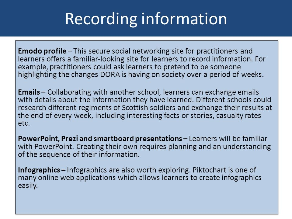 Recording information Emodo profile – This secure social networking site for practitioners and learners offers a familiar-looking site for learners to