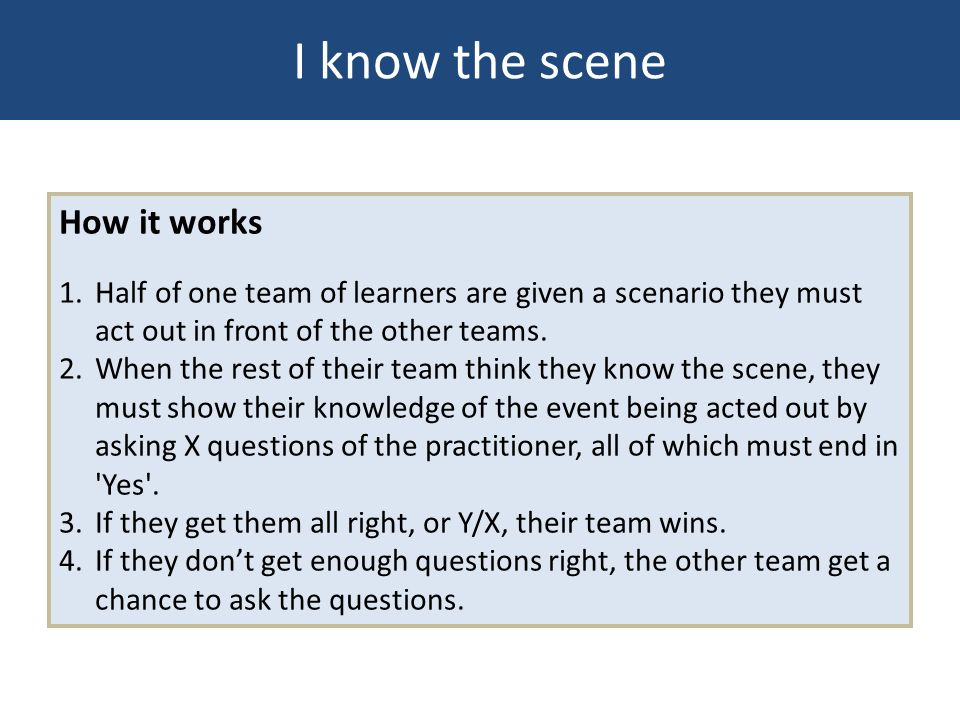 I know the scene How it works 1. Half of one team of learners are given a scenario they must act out in front of the other teams. 2. When the rest of