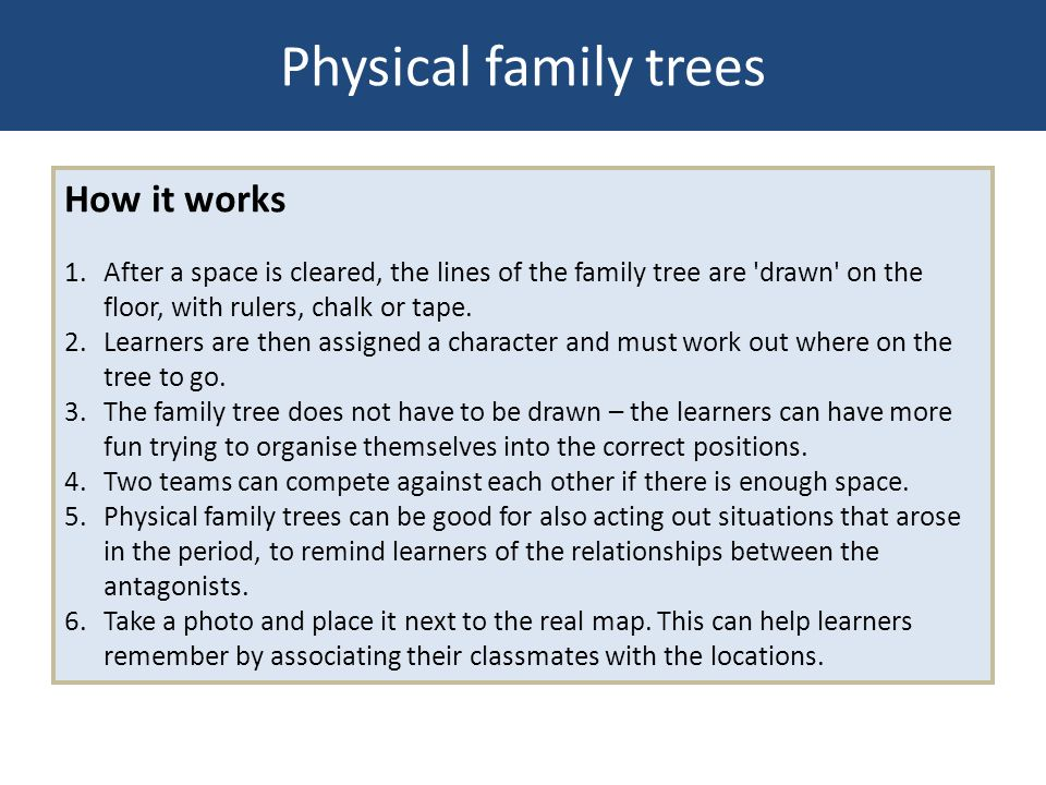 Physical family trees How it works 1. After a space is cleared, the lines of the family tree are 'drawn' on the floor, with rulers, chalk or tape. 2.