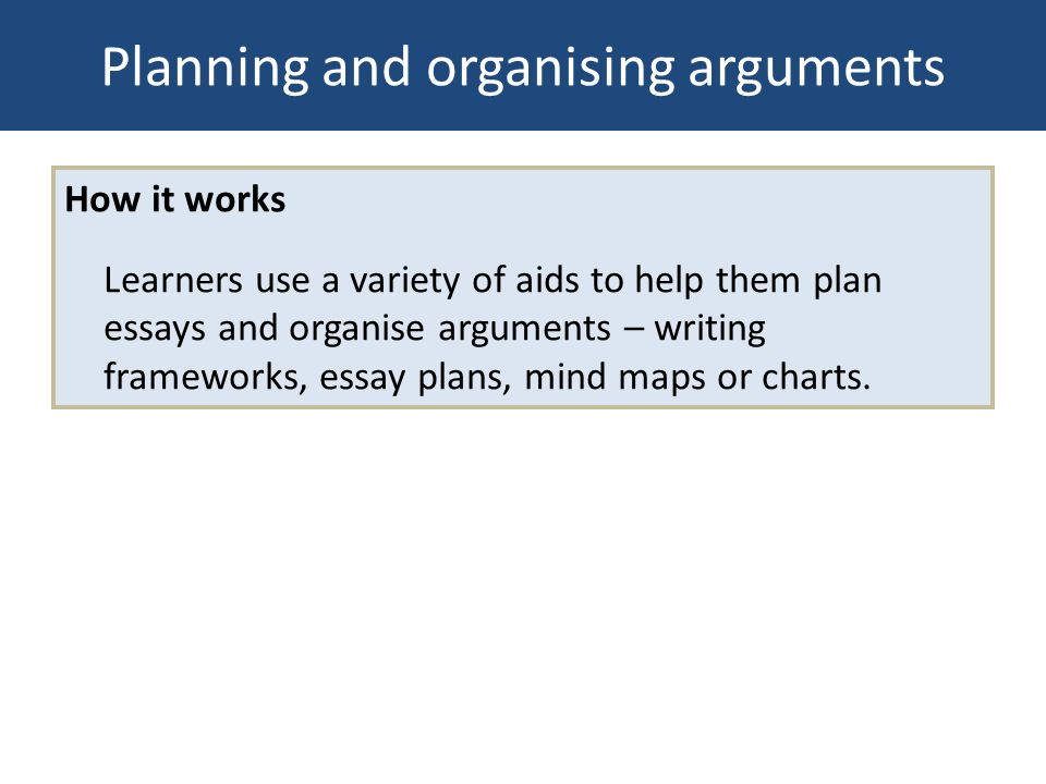 Planning and organising arguments How it works Learners use a variety of aids to help them plan essays and organise arguments – writing frameworks, es