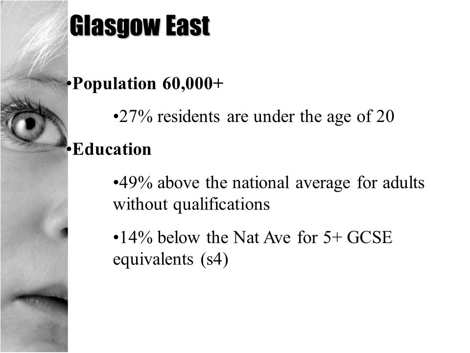 Glasgow East Population 60,000+ 27% residents are under the age of 20 Education 49% above the national average for adults without qualifications 14% b