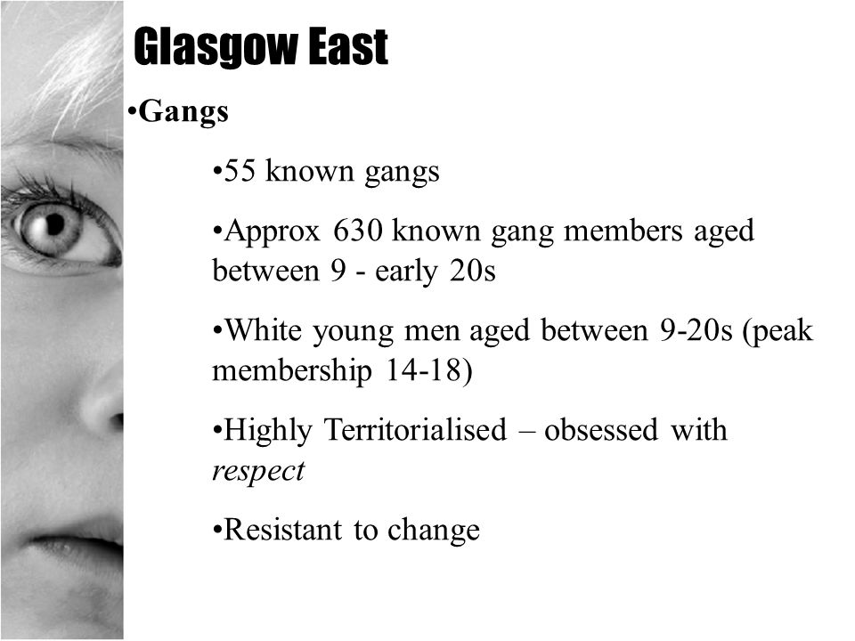 Glasgow East Gangs 55 known gangs Approx 630 known gang members aged between 9 - early 20s White young men aged between 9-20s (peak membership 14-18)