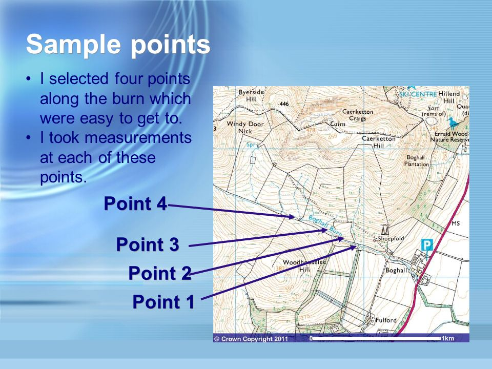 Point 1 Point 4 Point 3 Point 2 Sample points I selected four points along the burn which were easy to get to.