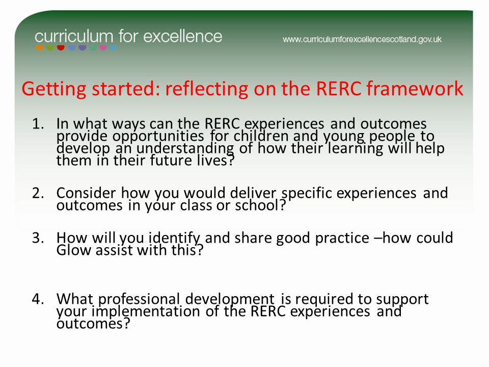 Getting started: reflecting on the RERC framework 1.In what ways can the RERC experiences and outcomes provide opportunities for children and young pe