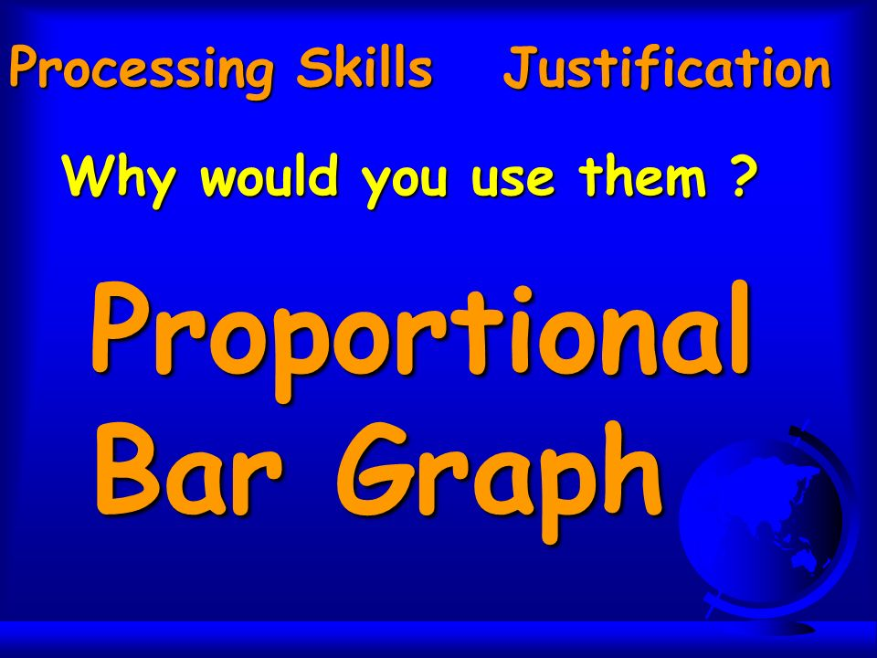 Processing Skills Justification Why would you use them ? Proportional Bar Graph
