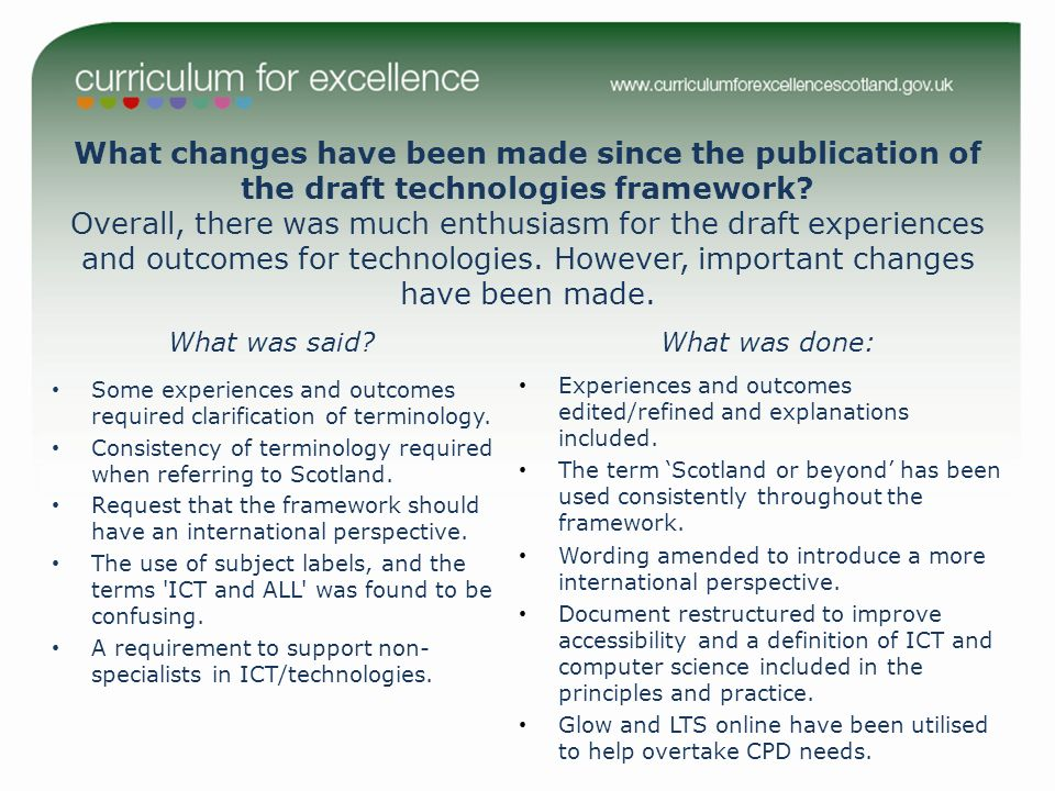 What changes have been made since the publication of the draft technologies framework.
