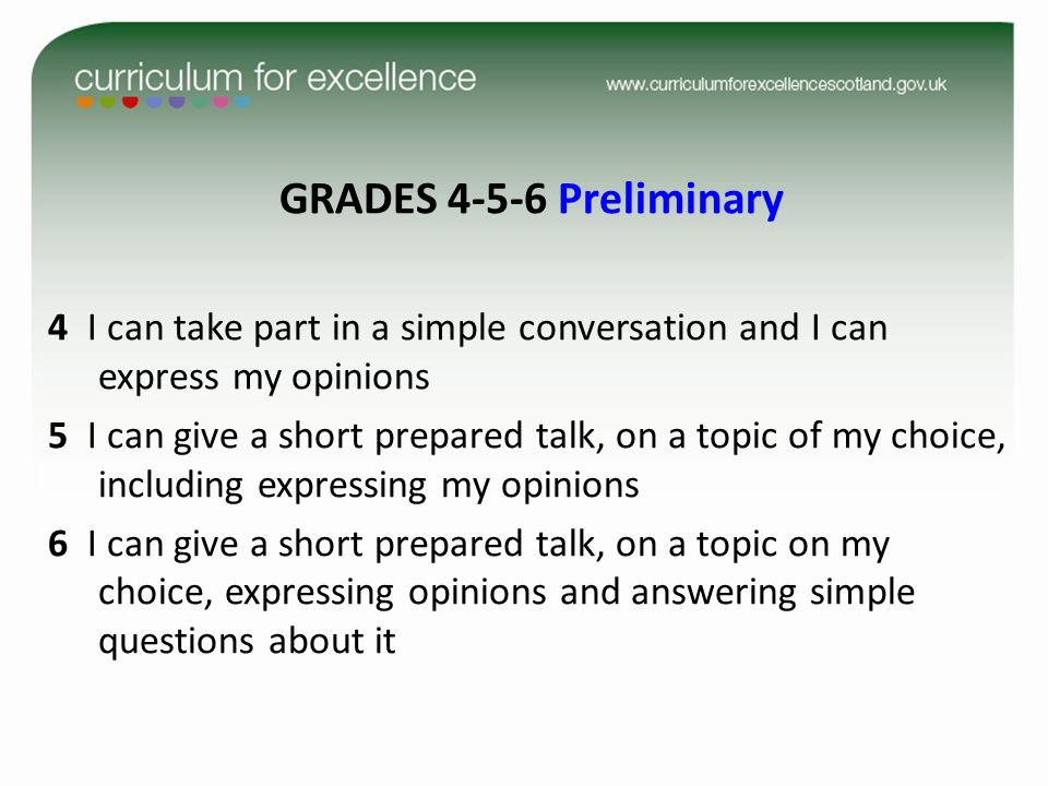 GRADES 4-5-6 Preliminary 4 I can take part in a simple conversation and I can express my opinions 5 I can give a short prepared talk, on a topic of my