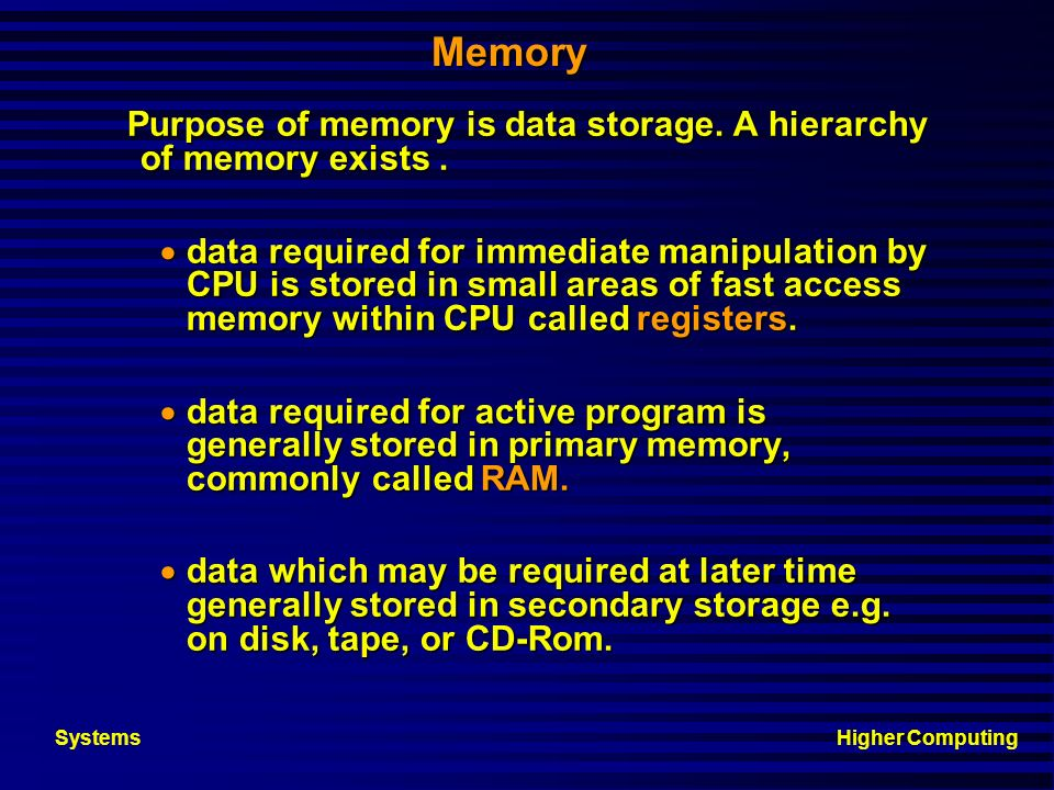 Higher ComputingSystems Four Box Diagram Input Output Backing Store Processor Memory (RAM and ROM) CPU