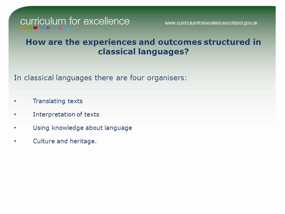 In classical languages there are four organisers: Translating texts Interpretation of texts Using knowledge about language Culture and heritage.